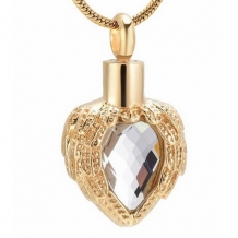 Gold Plated Hart Ashanger met Kristal en Angel Wings Graveren Personaliseren